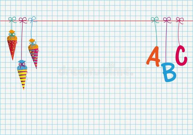 Hanging Candy Cones ABC Checked Paper Empty Centre royalty free stock photography
