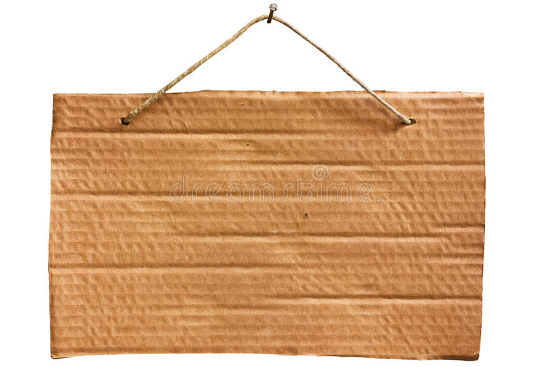 Hanging cardboard sheet - clipping path. Empty notice of cardboard sheet hanging with string and nail, blank signboard isolated, clipping path stock photo