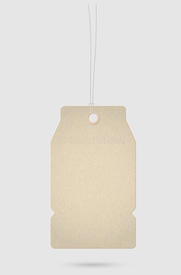 Hanging cardboard texture price tag stock illustration