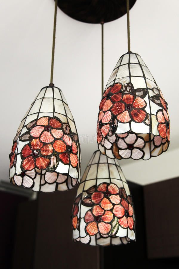 Hanging ceiling lamps stock photography