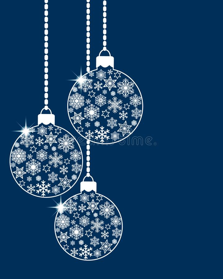 Free Hanging Christmas Ball Baubles Decorated With Various White Snowflakes And Stars On Blue Background. Flat Retro Style. Vector Royalty Free Stock Image - 161992826