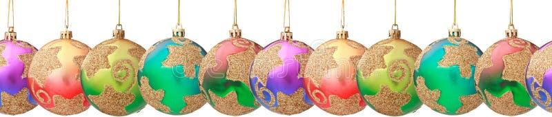 Hanging Christmas baubles (seamless horizontally) stock image