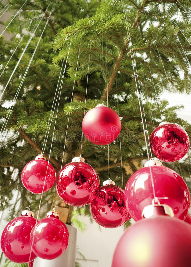Download Hanging christmas baubles stock image. Image of up, frame - 34780539