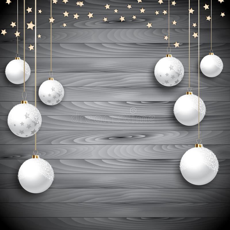 Hanging Christmas baubles on a wooden background stock illustration