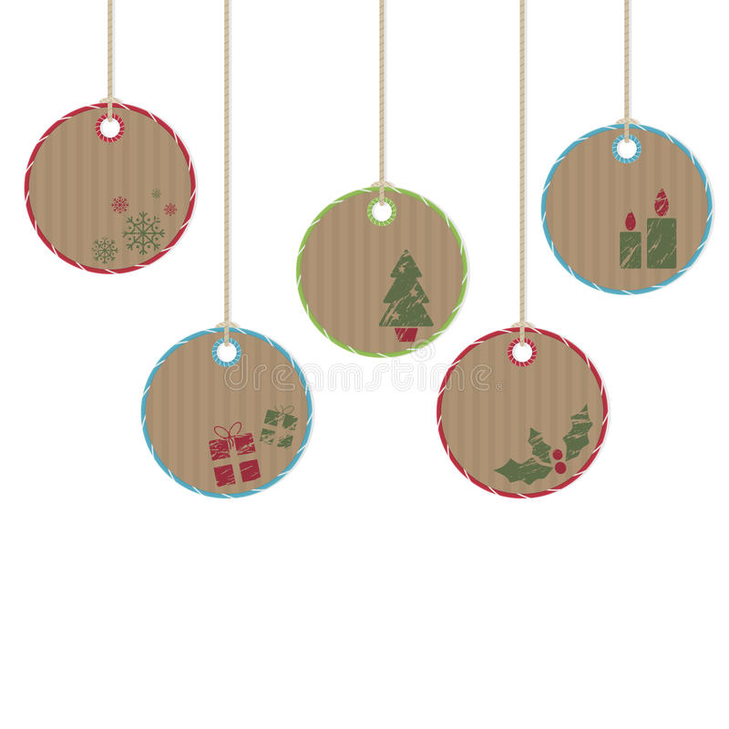 Hanging christmas decorations. Brown paper hanging christmas decorations with motifs royalty free illustration