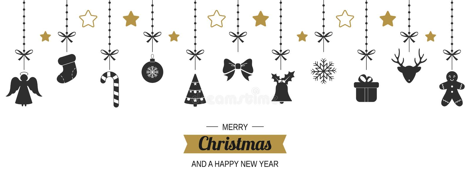 Hanging Christmas decorations. Christmas background. Vector vector illustration