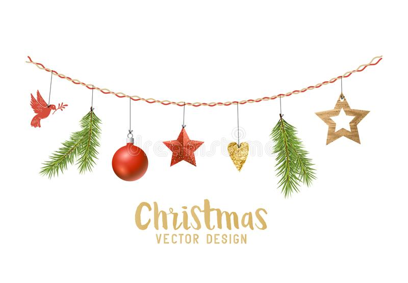 Hanging Christmas decorations composition stock illustration