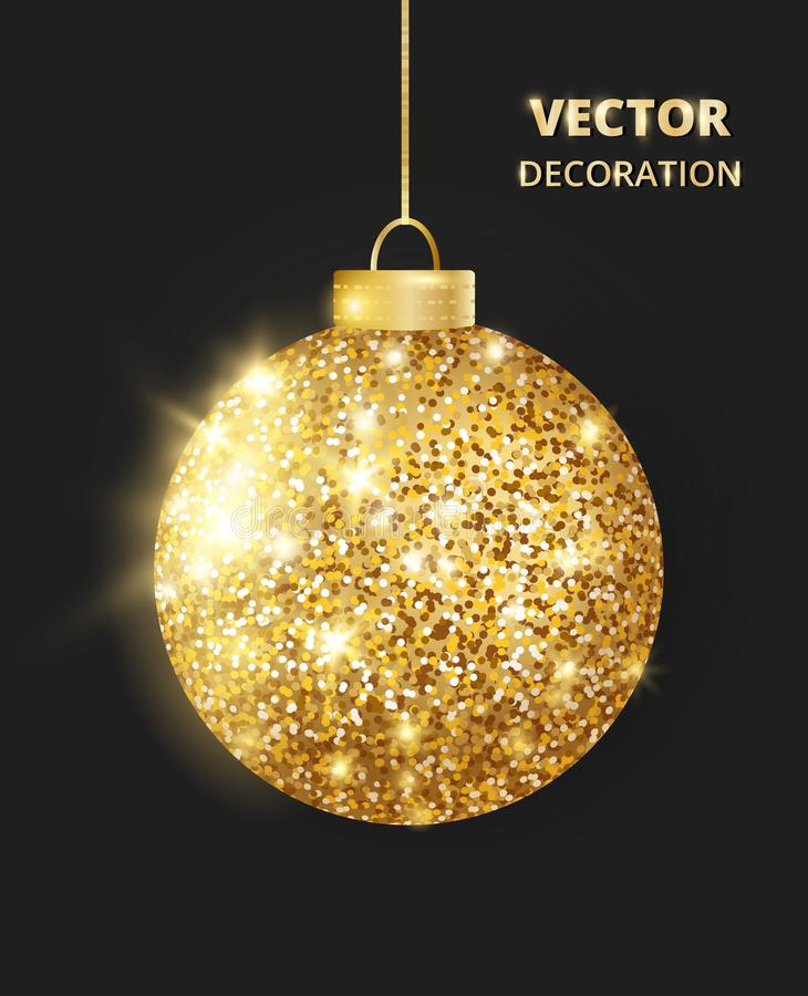 Hanging Christmas golden ball on black background. Sparkling glitter texture bauble, holiday decoration vector illustration
