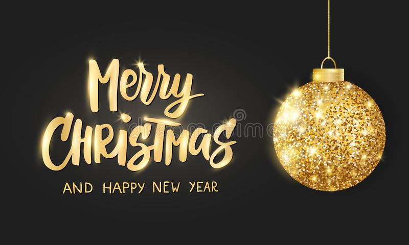 Hanging Christmas golden ball on black background. Sparkling metal glitter bauble. Merry Christmas hand drawn text stock illustration