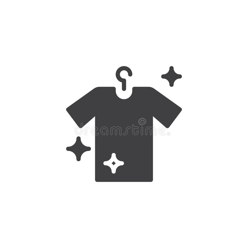Hanging clean shirt vector icon stock illustration