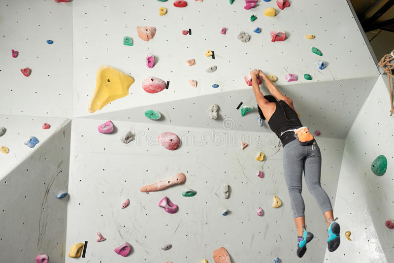 Hanging climber stock photo