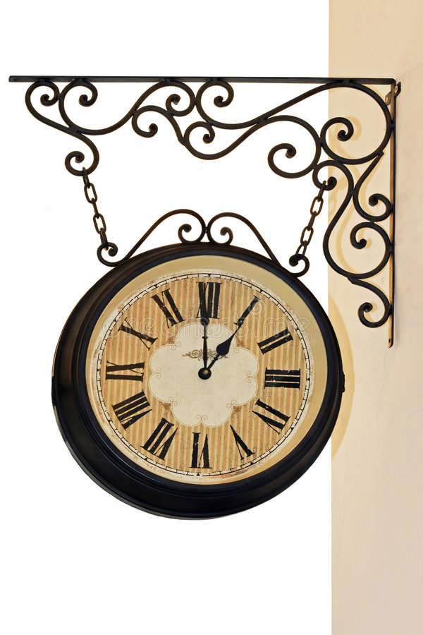 Hanging clock stock photo