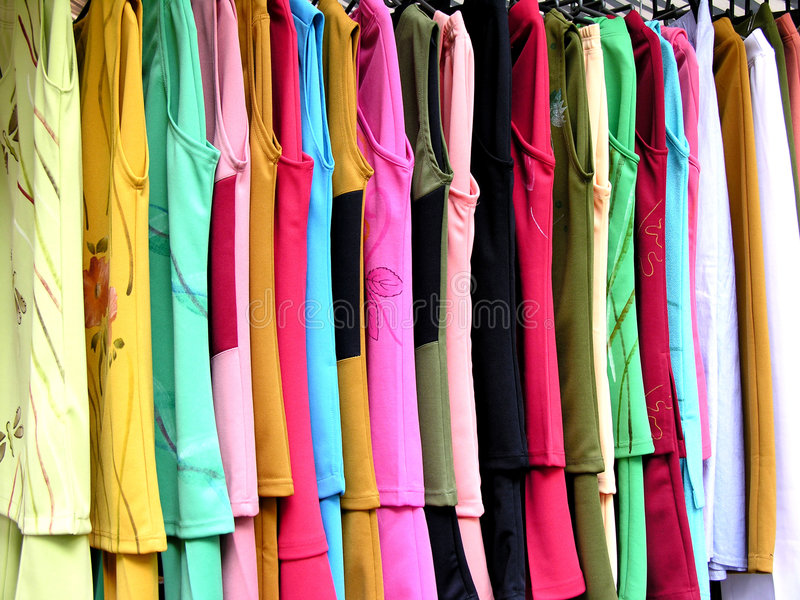 Hanging clothes. Colorful hanging clothes