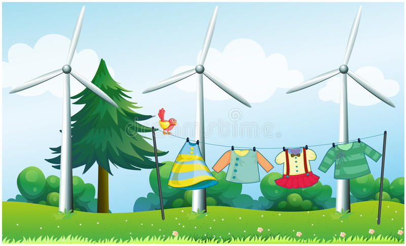 Hanging clothes in front of the windmills. Illustration of the hanging clothes in front of the windmills vector illustration