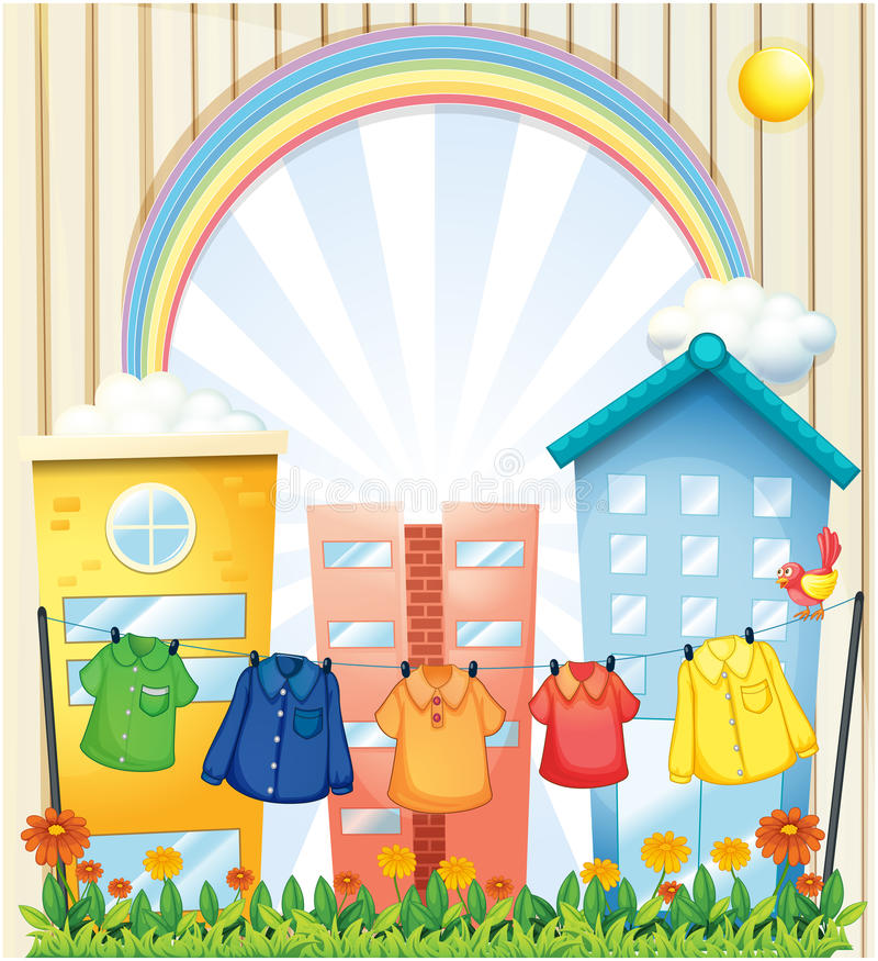 Download Hanging Clothes At The Garden Near The Tall Buildings Stock Illustration - Illustration: 33314421
