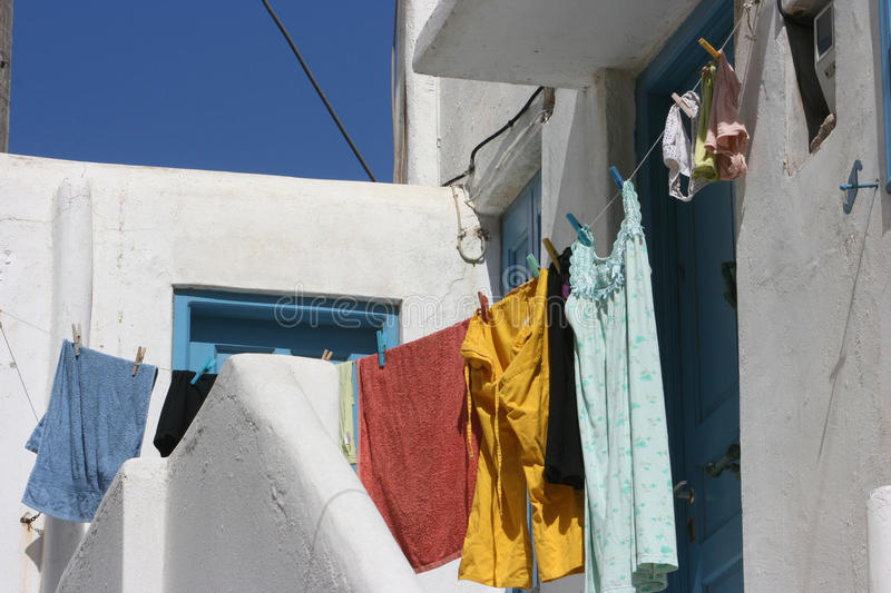 Hanging clothes in line stock images