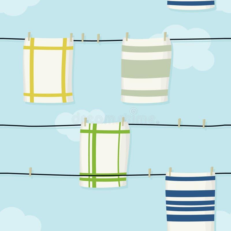 Hanging cloths illustration. Hanging cloths on clothesline - vector illustration royalty free illustration