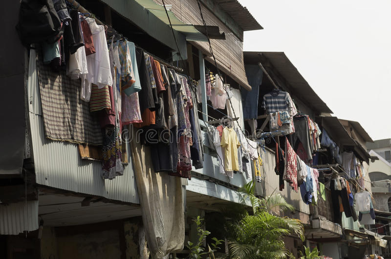 Hanging Cloths in Jakarta. Hanging Cloths in old town jakarta slum, indonesia stock photo