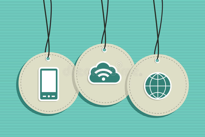 Hanging cloud computing sign icons set royalty free stock photos