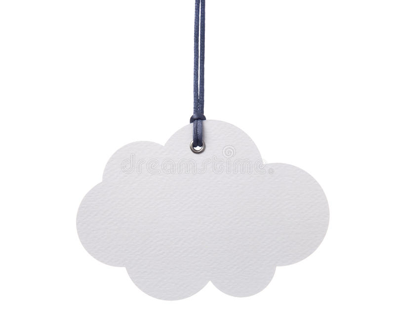 Hanging Cloud. Hanging coud shape paper cut label royalty free stock photography