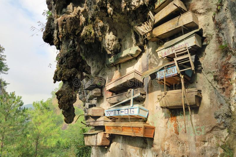 Hanging Coffins of Sagada, Philippines stock images