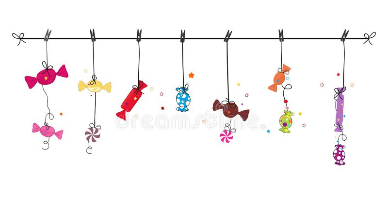 Hanging colorful hand drawn sweet candy. Traditional candies for Seker Bayram holiday. Greeting Card. Background vector illustration