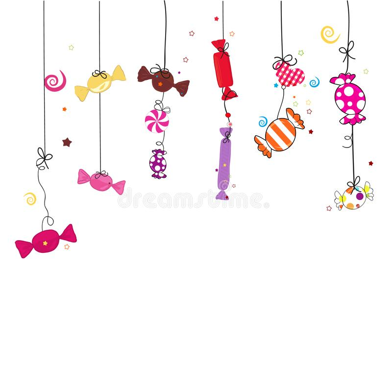 Hanging colorful hand drawn sweet candy. Traditional candies for Seker Bayram holiday. Greeting Card background vector illustration
