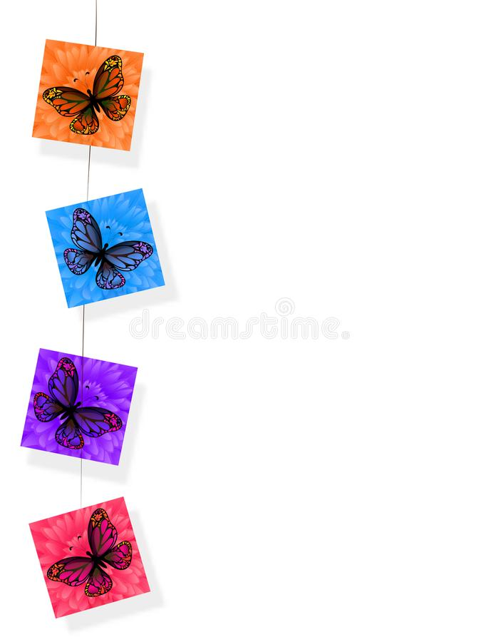 Hanging colorful stickers with butterflies with white background. Hanging colorful stickers with butterflies on white background vector illustration