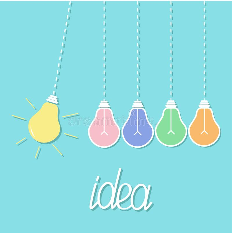 Hanging colorful yellow light bulb. Switch on off lamp. Perpetual motion. Dash line. Idea concept. Flat design. Blue pastel backgr. Ound. Vector illustration stock illustration