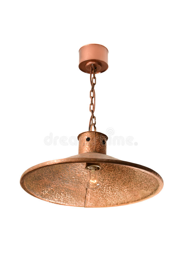 Hanging copper lamp. Vintage hanging copper lamp isolated on white stock photo