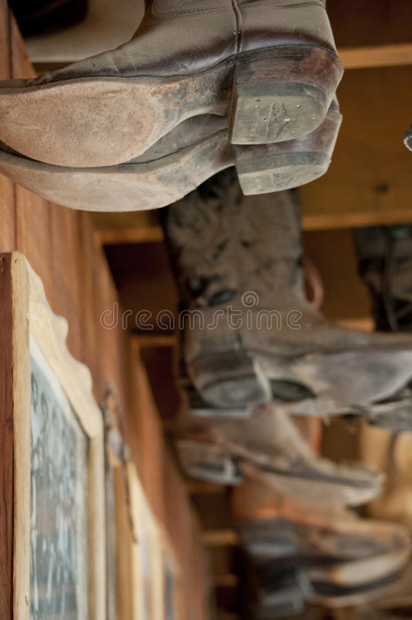 Hanging Cowboy Boots stock photo