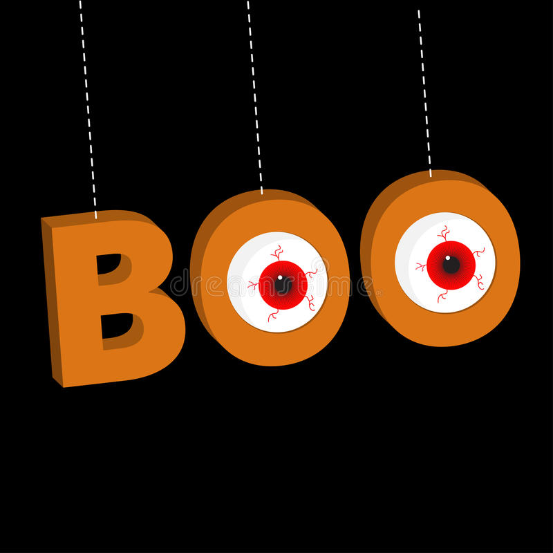 Hanging 3D word BOO text with red eyeballs. Dash line thread. Happy Halloween. Greeting card. Flat design. Black background. Vector illustration vector illustration