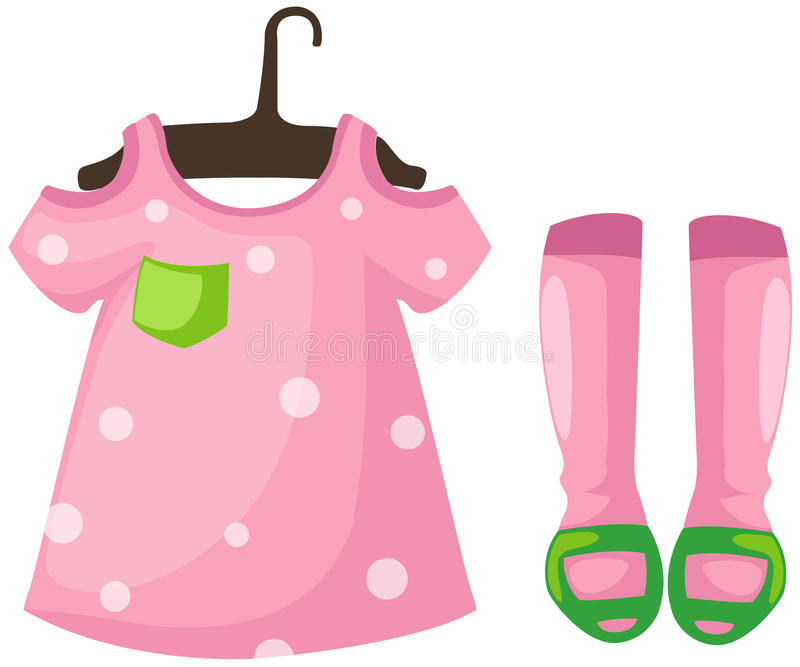 Download Hanging Dress Girl And Shoes Stock Vector - Image: 22859132