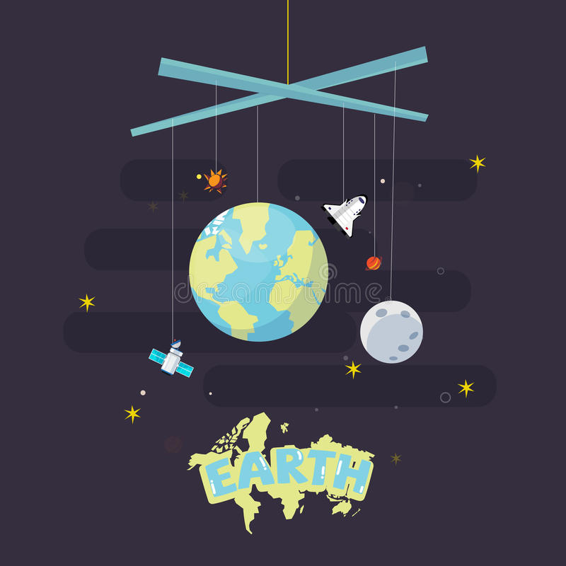 Hanging earth, moon and star. come with outer space icon. plane stock illustration