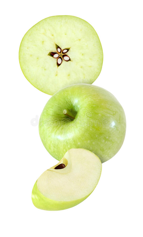Hanging, falling, hovering and flying piece of apple isolated. Hanging, falling, hovering and flying piece of apple fruits isolated on white background with royalty free stock photo