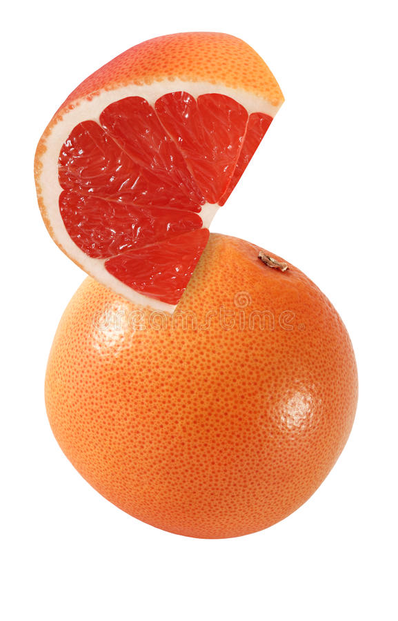 Hanging, falling, hovering, flying piece of grapefruit fruits royalty free stock photos