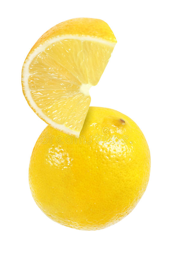 Hanging, falling, hovering, flying piece of lemon fruits. Isolated on white background with clipping path stock images