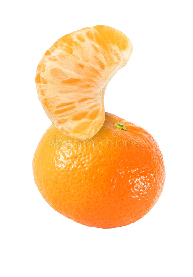 Hanging, falling, hovering and flying tangerine. Fruits and peeled segment isolated on white background with clipping path royalty free stock images