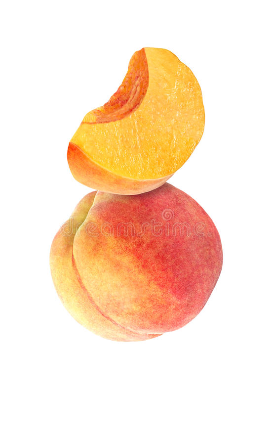 Hanging, falling, hovering and flying whole and sliced peach. Isolated on white background with clipping path royalty free stock photos