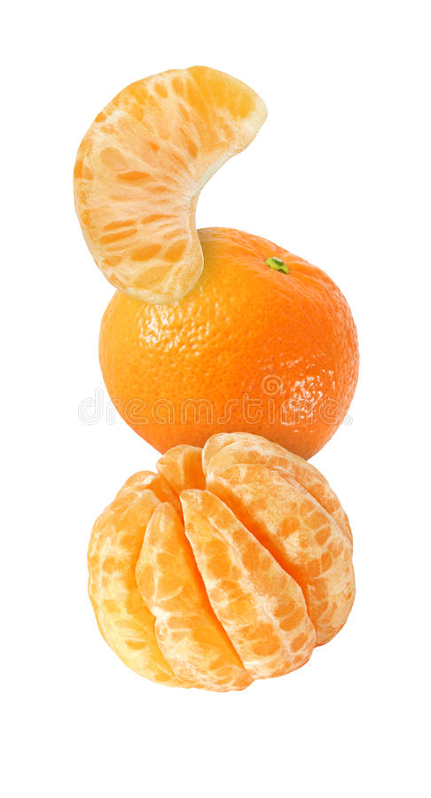 Hanging, falling, soaring and flying tangerine fruits isolated stock images