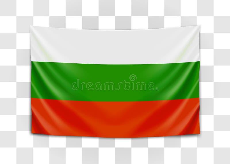 Hanging flag of Bulgaria. Republic of Bulgaria. National flag concept. royalty free illustration