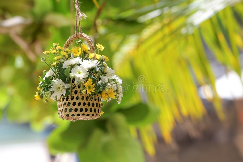 Hanging flower vase decorated at the garden royalty free stock photography