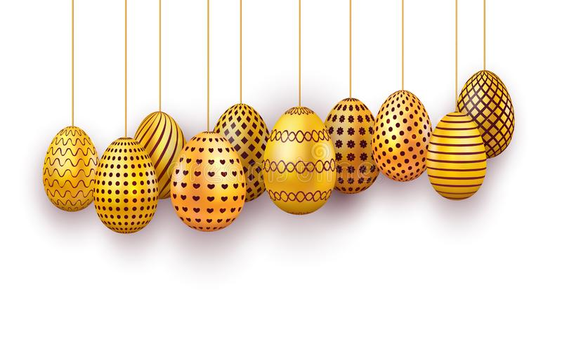 Hanging gold Easter eggs set. 3d realistic egg isolated on white background. Design element for banner, poster, flyer or greeting vector illustration