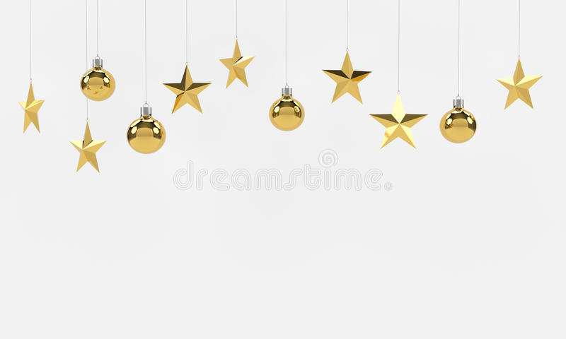 Hanging golden balls and stars ornaments on white background. For new year or christmas theme. 3D rendering. royalty free illustration