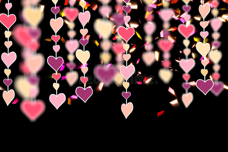 Hanging heart shapes on black horizontal seamless royalty free illustration