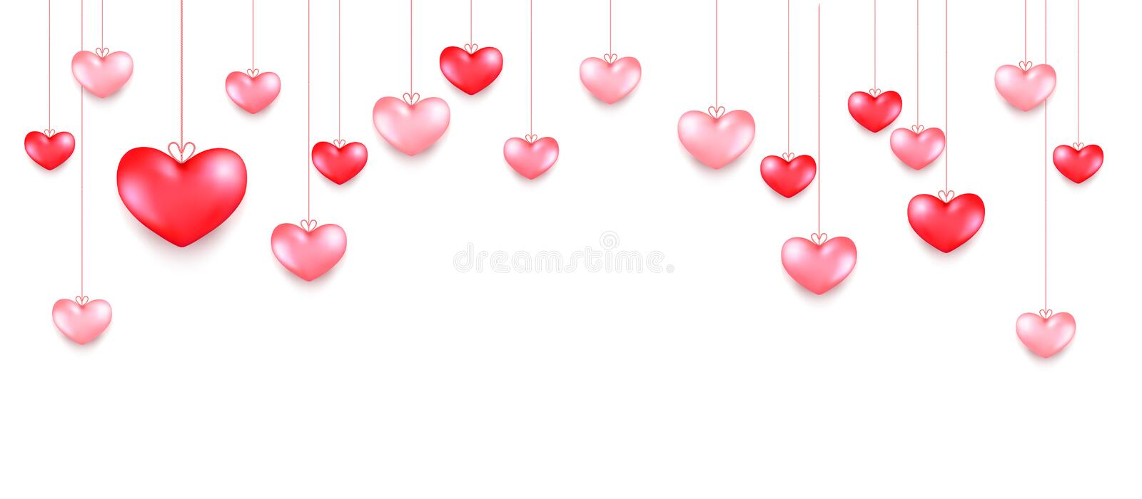 Hanging hearts. Valentines day greeting card design in 3d style on white background. Isolated objects for celebration decoration design stock photography