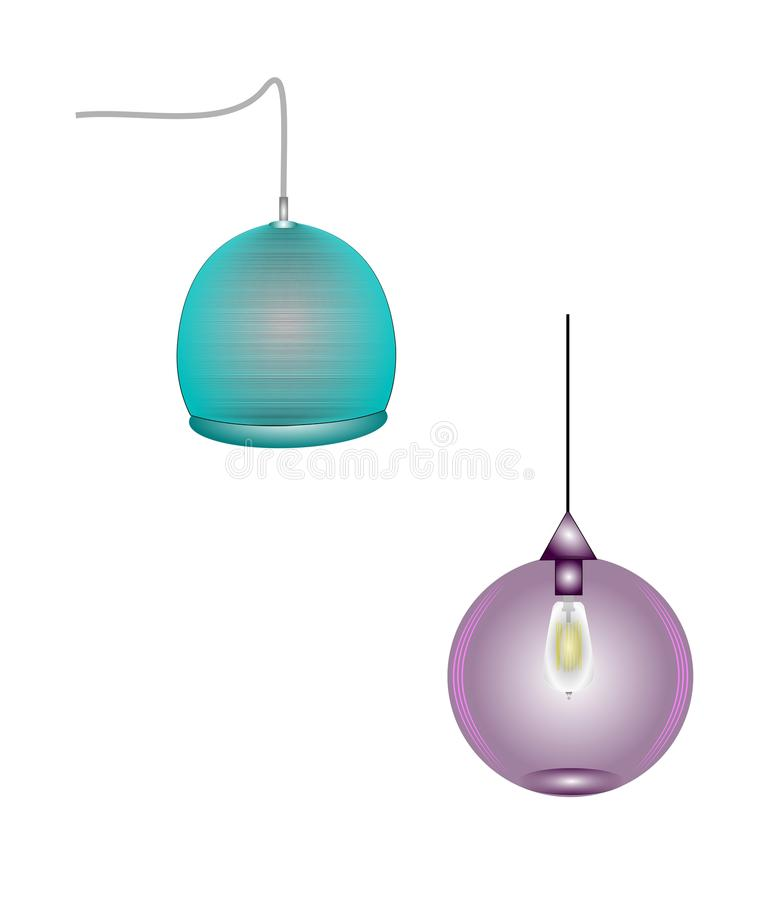 Hanging household lamps. Lamps in distinct designs for home use royalty free illustration