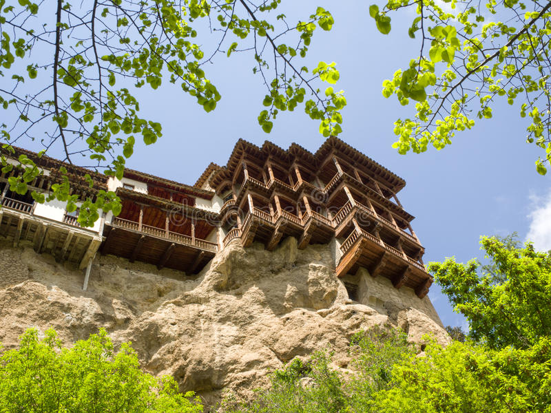 Hanging houses in a cliff in Cuenca royalty free stock photography