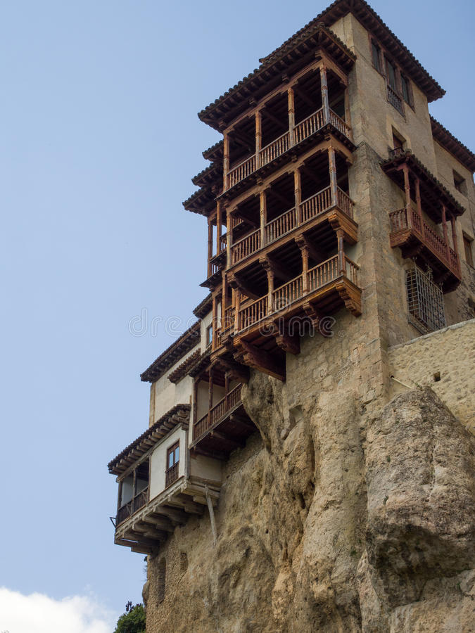 Hanging houses in a cliff in Cuenca stock photography