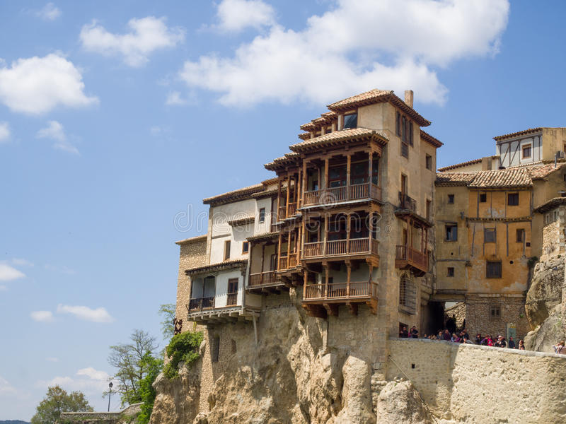 Hanging houses in a cliff in Cuenca stock photo